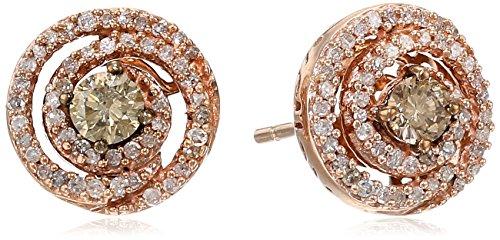 10K Rose Gold Champagne and White Diamond Swirl Stud Earrings (1/2 cttw)