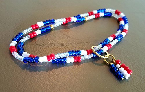 white opaque red Hemp Anklet blue