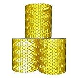 Viewm Reflective Tape 3 Rolls Safety Warning Tapes 2 inch × 3.28 yard / 5cm × 3m (Orange)