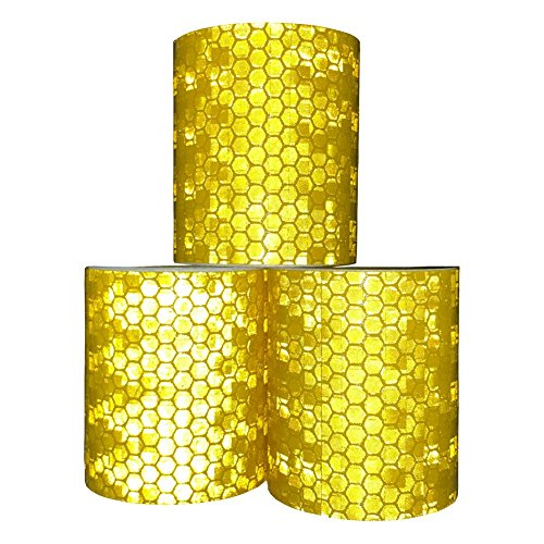 Viewm Reflective Tape 3 Rolls Safety Warning Tapes 2 inch × 3.28 yard / 5cm × 3m (Orange) by Viewm