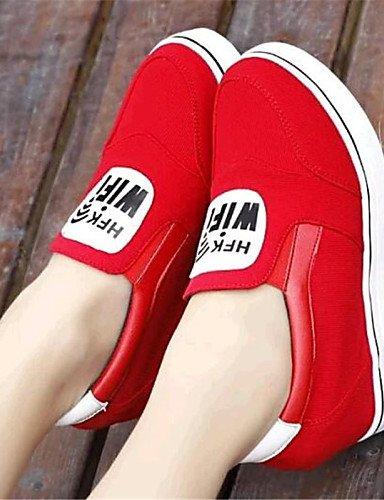 negro Gris Gyht Uk6 us8 Cn39 mocasines tela Zq Gray Zapatos Mujer Eu39 cuñas exterior Casual tacón Cuña Rojo De PnOwqFwHTd