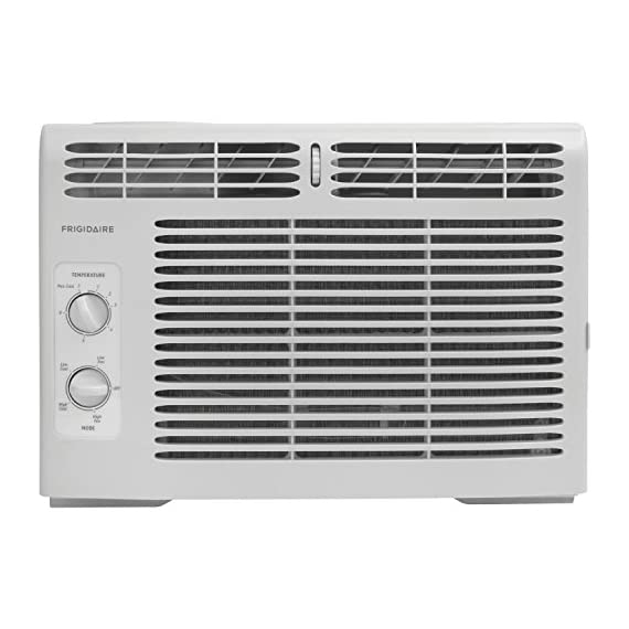 Frigidaire FFRA0511R1E 5, 000 BTU 115V Window-Mounted Mini-Compact Air Conditioner with Mechanical Controls 12 5,000 BTU mini-compact air conditioner for window-mounted installation uses standard 115V electrical outlet (Window mounting kit included) Quickly cools a room up to 150 sq. ft. with dehumidification up to 1.1 pints per hour Mechanical rotary controls, 2 cool speeds, 2 fan speeds, and 2-way air direction.Accommodates windows with a minimum height of 13 inches and width of 23 inches to 36 inches