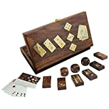 """3-in-1 Wooden Domino Set and Five Dice with Deck of Playing Card in Storage Box Complete Game Set - 8"""" x 4.5"""" x 1.5"""""""