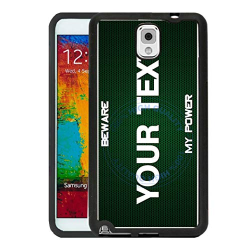 BRGiftShop Customize Your Own Superhero Series: Green Beware of My Power Rubber Phone Case for Samsung Galaxy Note III 3