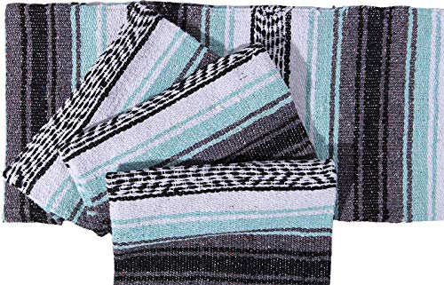 El Paso Designs Genuine Mexican Falsa Blanket - Yoga Studio Blanket, Colorful, Soft Woven Serape Imported from Mexico (Cool Mint & Gray) by El Paso Designs (Image #3)