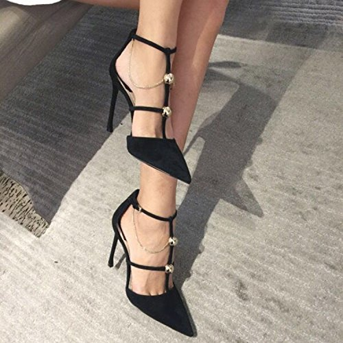 Lady Work Shoes 10Cm Straps Fine Shoes Black With 39 Shoes Sexy Spring Elegant Single Buckle High Heeled Leisure Pointed MDRW A gqEwd1g