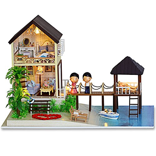Rylai Wooden Handmade Dollhouse Miniature DIY Kit – Love In Maldives Series Miniature Scene Wooden Dollhouses  Furniture/Parts(1:24 Scale Dollhouse)