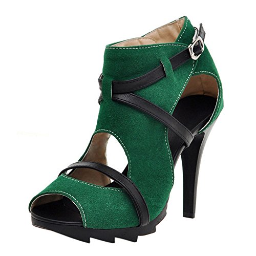 Coolcept Mujer Moda Ankle Wrap Sandalias Peep Toe Tacon de Aguja Zapatos Verde