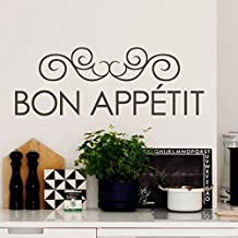 Kitchen Wall Decal Vinyl Dinging Room Quote French Wall Sticker Words Wall Graphic Mural Home Art Decor - Bon appetit Black