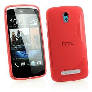 Kit Me Out ES ® Funda de gel TPU + Cargador para coche + Protector de pantalla con gamuza de microfibra para HTC Desire 500 - Rojo Forma de línea S