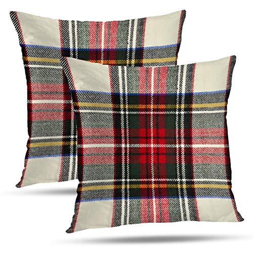 - Batmerry Plaid Pillow Covers 18x18 Inch Set of 2, Scottish Tartan Red and White Wool Plaid Pattern Symmetric Square Print Double Sided Decorative Pillows Cases Throw Pillows Covers