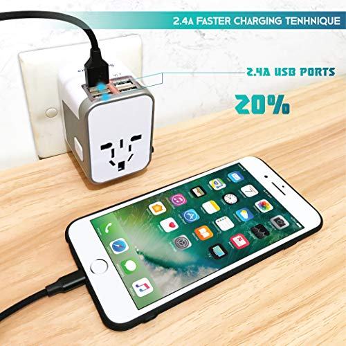 Power Plug Adapter - International Travel - (Pack of 2) w/4 USB Ports Work for 150+ Countries - 220 Volt Adapter - Travel Adapter Type C Type A Type G Type I f for UK Japan China EU Europe European by   SublimeWare   (Image #6)