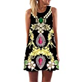 KYLEON Women Dresses Vintage Boho Summer Sleeveless 3D Print Dress Casual Beach Short Mini Loose T-Shirt Swing Sundress Black