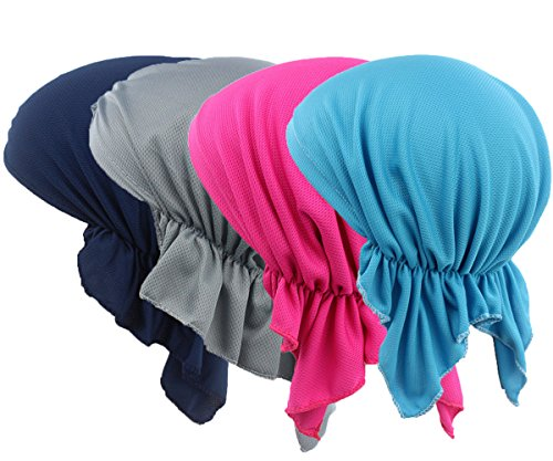 4 Pack Womens Solid Color Soft Ruffle Lightweight Turban Chemo Hat for Cancer Patients (Color#2)
