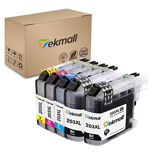 Tekmall Compatible Ink Cartridges Replacement for Brother LC203XL LC 203 for MFC-J485DW MFC-J480DW MFC-J885DW MFC-J460DW MFC-J880DW MFC-J680DW MFC-J4420DW Printers 5 Pack