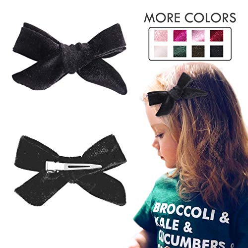 Hair Bows Clip Knotted Hair Clips Black Alligator Clip Velvet Ribbon Boutique Accessories for Newborns Little Girls Toddlers