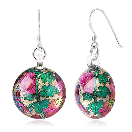 Sterling Silver Hand Blown Glass Colorful Butterflies & Roses Retro Round Dangle ()