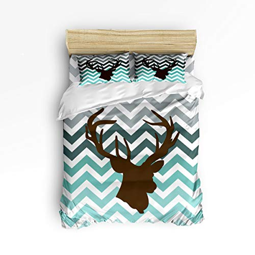 Cloud Dream Home 4 Piece Bedding Set,Teal Gray Blue Deer Chevron Zig Zag Pattern Duvet Cover Set Quilt Bedspread for Childrens/Kids/Teens/Adults Queen Size(Large)