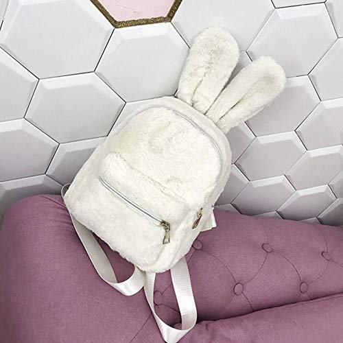 Orejas Viaje de Linda de la Bolso Piel Imitación Blanco Wideiwnguk Felpa de de Hombro Conejo la Mochila Mini del de pnTqZOSdq