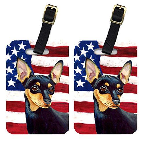 Caroline 's Treasures lh9004btペアのアメリカ国旗with Min Pin荷物タグ、L、マルチカラー   B00RZSY5T2