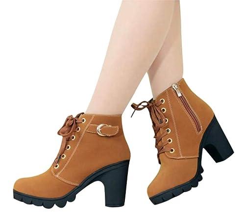 Mujer Invierno Botas Moda Color Sólido Calentar Botines Suela Suave Transpirable Boots 35-40: Amazon.es: Zapatos y complementos