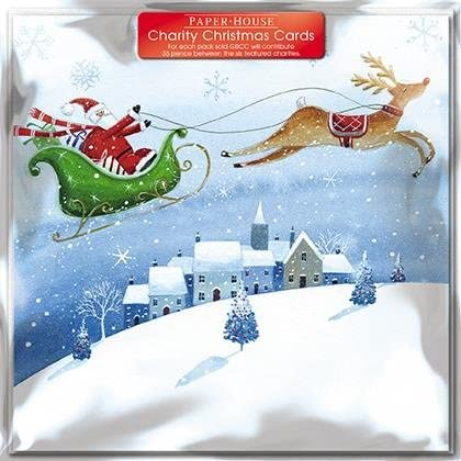 Pack of 6 Santa & Sleigh Charity Christmas Cards Supports Multiple Charities: Amazon.es: Oficina y papelería