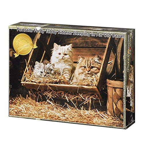 - Puzzle Korea,Portraits Fluffy Tabby Kittens Sleeping In An Old Barrel - 500 Piece Jigsaw Puzzle [Pouch Included]