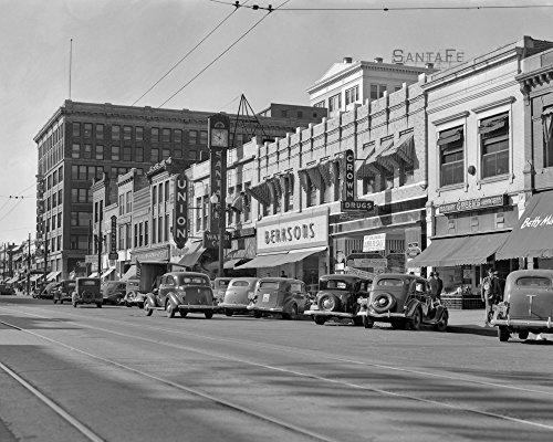 1940s Kansas Street Shopping District Cars Shops Storefronts Topeka Kansas Usa Print By Vintage - Topeka Shopping