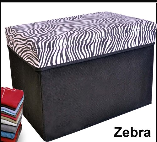 Cheap Collapsible Storage Ottoman, Rectangle Shape (Zebra Pattern)