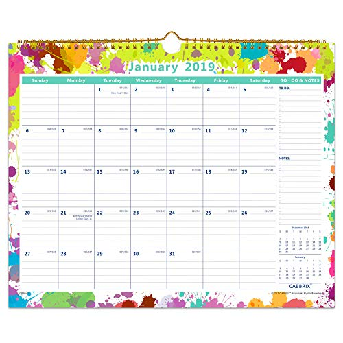 """Cabbrix 2019 Monthly Wall Calendar, 15""""x12"""", Wirebound, Flexible Cover, January - December"""