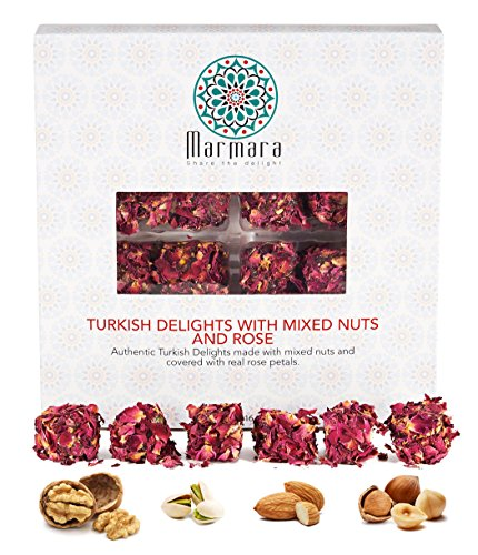 Turkish Delights with Mix Nuts and Real Rose Marmara Gourmet Sweet Confectionery Box Candy Dessert Extra Large 1 (1980s Rose)