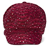 TOP HEADWEAR Women's Glitter Sequin Trim Newsboy Style Relaxed Fit Hat Cap - Wine