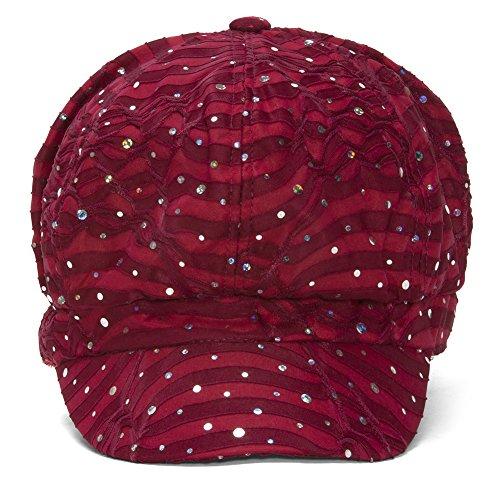 TOP HEADWEAR Women's Glitter Sequin Trim Newsboy Style Relaxed Fit Hat Cap - Wine by TOP HEADWEAR