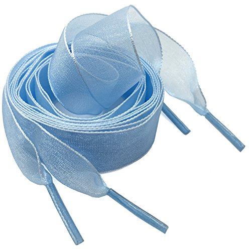 Flat Snow Yarn Shoelaces Light Blue for Women