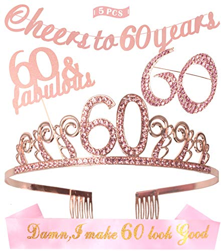 Elegant 60th Birthday Decorations (60th Birthday Decorations Party Supplies, 60th Birthday Tiara, 60th Satin Sash Damn I make 60 look good, Glittery Cheers to 60 Years Banner, 60 Pink Rhinestone Brooch, 60th queen)