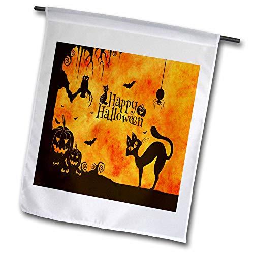 3dRose Sandy Mertens Halloween Designs - Cat, Owl, Bats, Spider, Jack o Lanterns Silhouettes, 3drsmm - 12 x 18 inch Garden Flag (fl_290231_1) ()