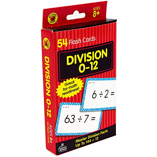 Carson Dellosa - Division Flash Cards Facts 0 to 12 - 54 Cards with 100 Problems for 3rd and 4th Grade Math, Ages 8+ with Bonus Game Card (Brighter Child Flash Cards)