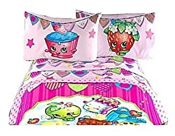 Shopkins Complete Kids Bedding Set with Reversible Comforter, Sheets, Pillow Cases and Plush Bed Blanket - Full