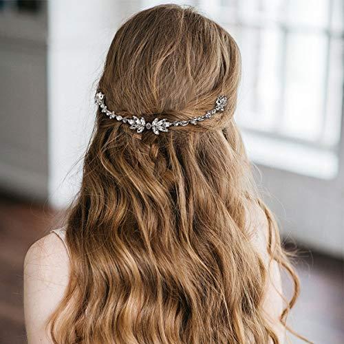 Wedding Hair Comb - Bridal Hair Side Comb Vine Crystal Rhinestones Headpieces Wedding Hair Accessories for Women(Silver)