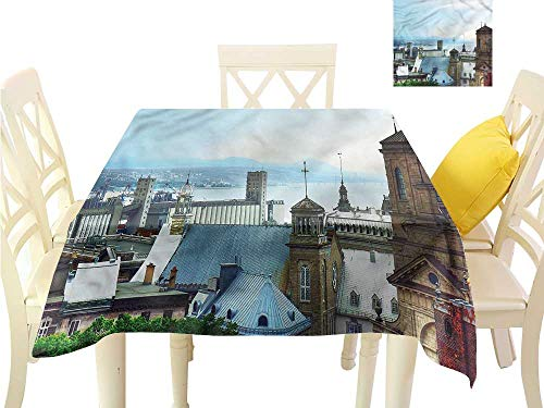 Davishouse Easy Care Tablecloth Old Quebec City Skyline Washable Polyester - Great for Buffet Table, Parties, Holiday Dinner, Wedding & More W50 x L50 ()