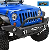 EAG Full Width Front Bumper With Fog Lights Hole & Winch Plate for 2007-2018 Jeep Wrangler JK