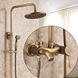 Antique Cooper Finish Bathroom Shower Faucet Set with 8 Inch Rotatable Shower Head Ceramic Valve Single Handle