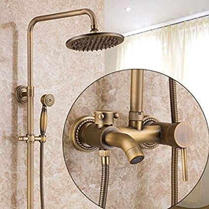 Antique Cooper Finish Bathroom Shower Faucet Set with 8 Inch ...