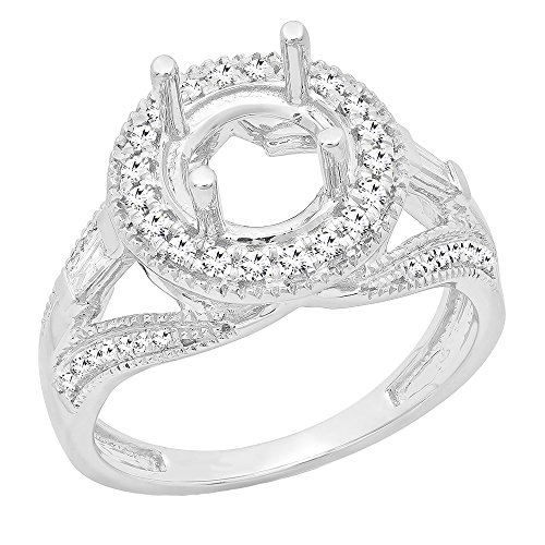 Dazzlingrock Collection 0.30 Carat (ctw) 14K Round & Baguette Diamond Bridal Semi Mount Ring 1/3 CT, White Gold, Size 7