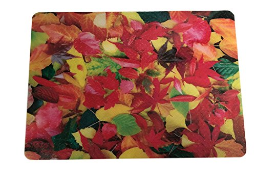 Plastic, Anti-Stain Grill and Garage Protective Mat - Decorative Embossed Diamond Plate Pattern - Leaves, (3 Feet x 4 Feet)