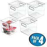 mDesign Plastic Kitchen Pantry Cabinet, Refrigerator or Freezer Food Storage Bins with Handles - Organizer for Fruit, Yogurt, Snacks, Pasta - Food Safe, BPA Free, 6'' Cube - 4 Pack, Clear