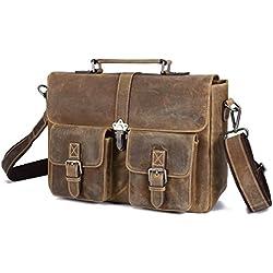 "BAIGIO Vintage Leather Briefcase Antique Messenger Bag 13"" Laptop Shoulder Tote Handbag (Brown)"
