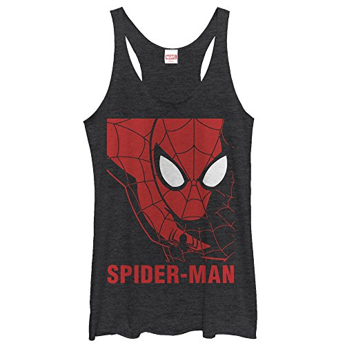 Juniors Tank Top: Spiderman- In Scarlet Juniors (Slim) T-Shirt Size S