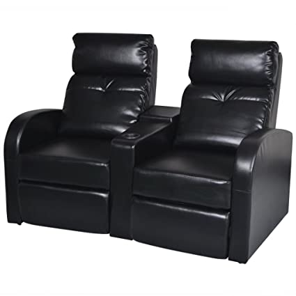 Amazon Com Vidaxl Black Artificial Leather 2 Seat Home Theater