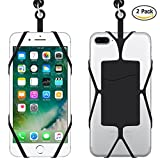 Cell Phone Lanyard Strap Case with ID Card Slot , IHUIXINHE 2PCS Silicone Smartphone Case Cover Holder with Sling Lanyard Necklace Wrist Strap for IPHONE 7 Plus 6 6S, Samsung Galaxy S8 S7 Edge Note 5 4 3 and All Size Phones